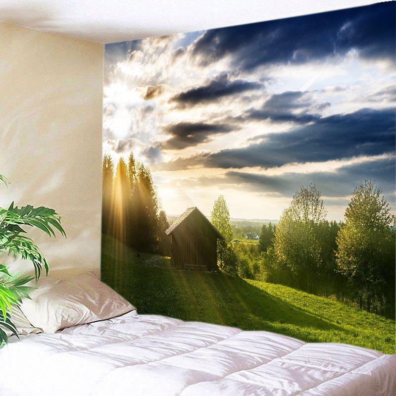 Sunlight Village Print Tapestry Wall Hanging Art - GREEN W79 INCH * L59 INCH