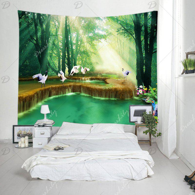 Forest Falls Print Tapestry Wall Hanging Art - GREEN W91 INCH * L71 INCH