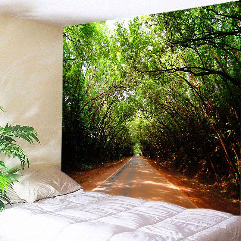 Forest Driveway Print Tapestry Wall Hanging Art - GREEN W79 INCH * L71 INCH