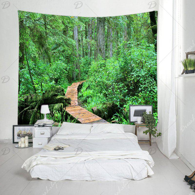 Forest Wood Path Print Tapestry Wall Hanging Art - GREEN W91 INCH * L71 INCH