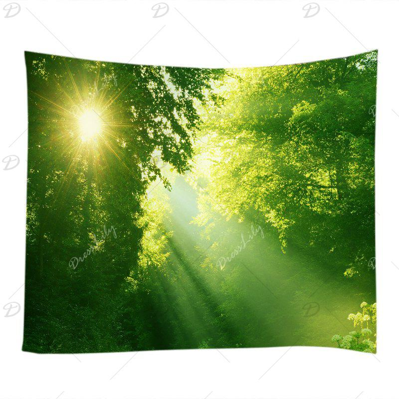 Sunlight Dense Forest Print Tapestry Wall Hanging Art - GREEN W59 INCH * L59 INCH