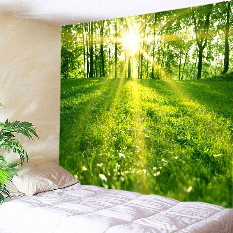Sunlight Forest Lawn Print Tapestry Wall Hanging Art - GREEN W91 INCH * L71 INCH
