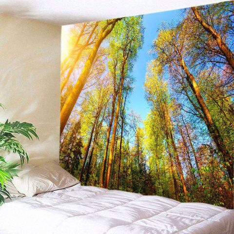 Sunlight Forest Sky Print Tapestry Wall Hanging Art - CITRUS W91 INCH * L71 INCH