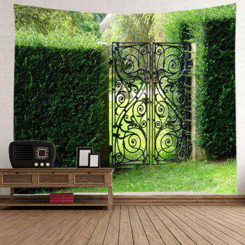 Bush Wall Gate Print Tapestry Wall Hanging Art - GREEN W91 INCH * L71 INCH