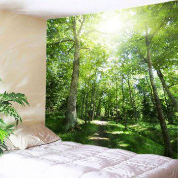 Sunshine Forest Pathway Print Tapestry Wall Hanging Art - GREEN GREEN