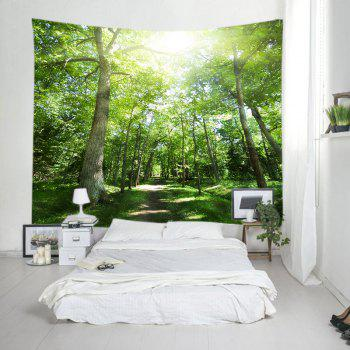 Sunshine Forest Pathway Print Tapestry Wall Hanging Art - GREEN W91 INCH * L71 INCH