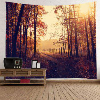 Dusk Forest Pathway Print Tapestry Wall Hanging Art - BROWN W59 INCH * L51 INCH