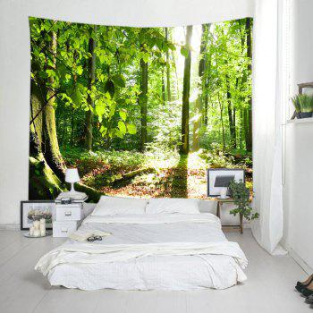 Forest Sunshine Print Tapestry Wall Hanging Decor - GREEN W91 INCH * L71 INCH