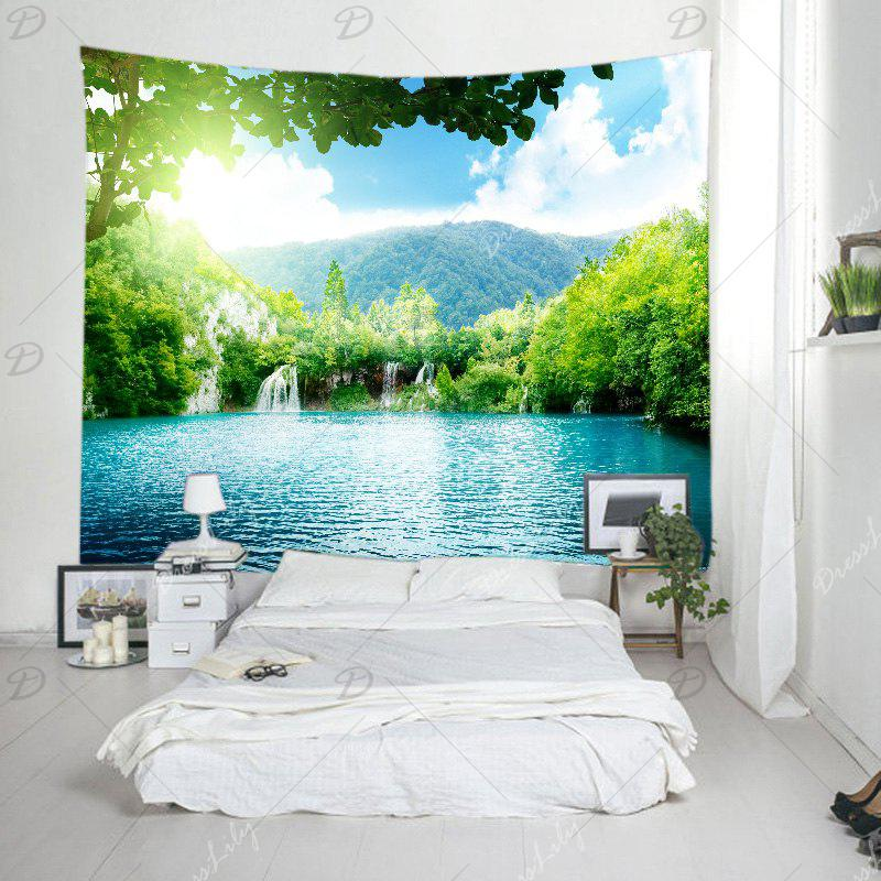 Moutain Falls Lake Print Tapestry Wall Hanging Art - GREEN W91 INCH * L71 INCH