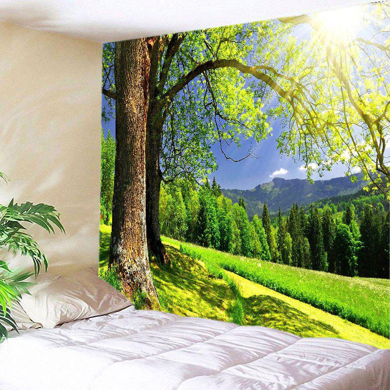 Sunlight Trees View Print Tapestry Wall Hanging Art - GREEN W59 INCH * L51 INCH