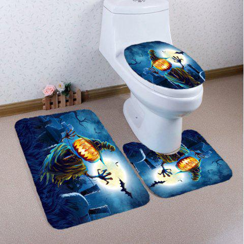 3Pcs Halloween Terror Pumpkin Grave Printed Bathroom Mats Set - Bleu