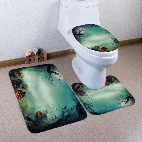 3Pcs Halloween Pumpkin Printed Bathroom Mats Set - Vert