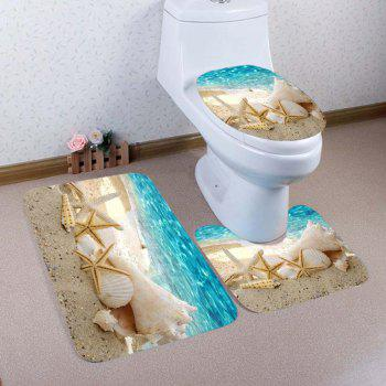 Beach Conch Starfish Pattern 3 Pcs Bathroom Toilet Mat