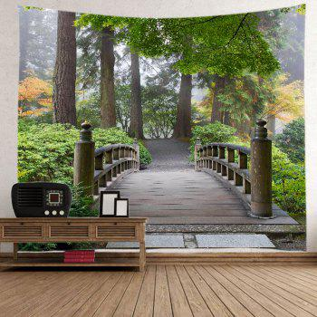 Forest Wood Bridge Print Tapestry Wall Hanging Art - GREEN W91 INCH * L71 INCH
