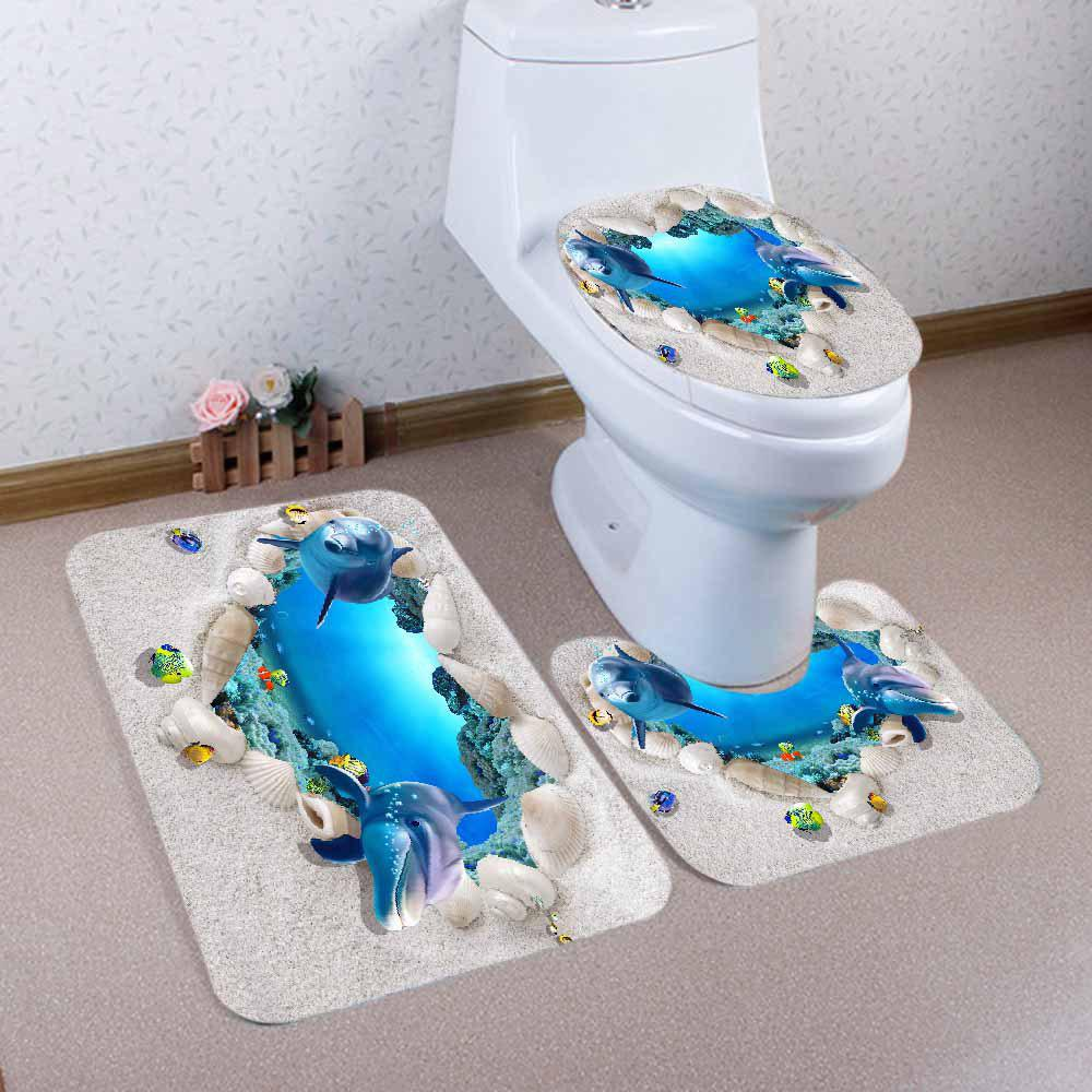 3D Ocean Dolphine Pattern 3 Pcs Bathroom Toilet Mat - BLUE