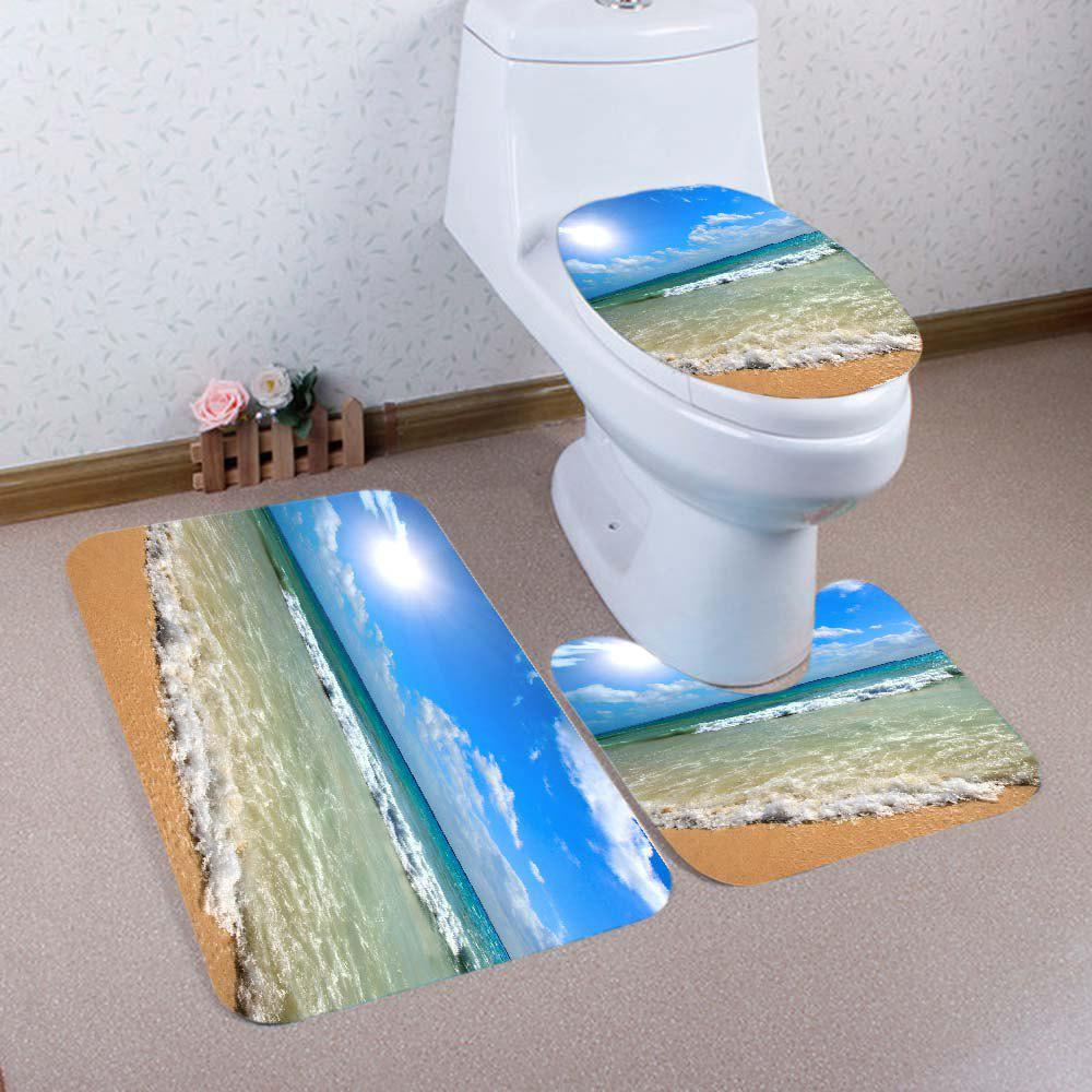 Beach Waves Pattern 3 Pcs Bathroom Toilet Mat - BLUE