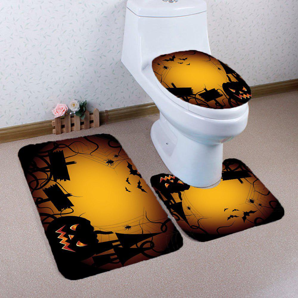 Halloween Spider Printed Nonslip 3Pcs Bathroom Mats Set - YELLOW