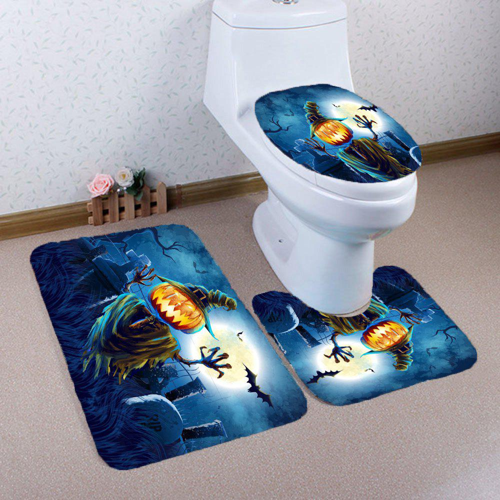 3Pcs Halloween Terror Pumpkin Grave Printed Bathroom Mats Set - BLUE