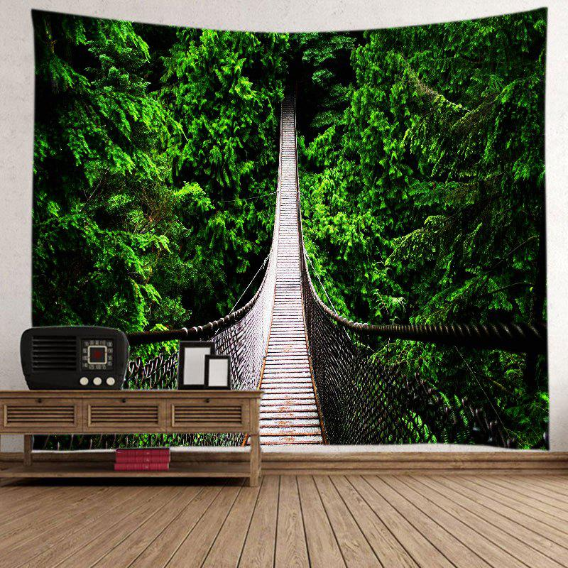 Forest Hanging Bridge Print Tapestry Wall Hanging Art - GREEN W91 INCH * L71 INCH