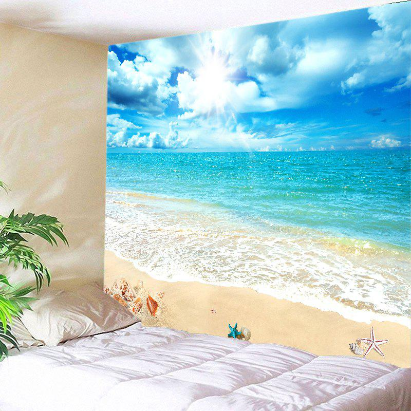Sunshine Beach View Print Tapestry Wall Hanging Art - LAKE BLUE W91 INCH * L71 INCH