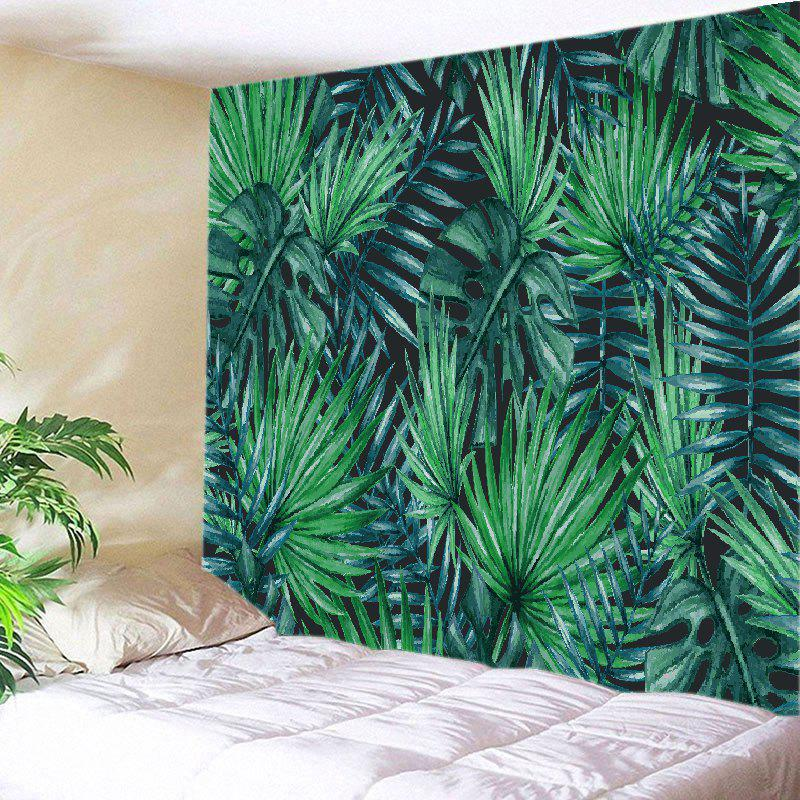 Tropical Leaves Print Tapestry Wall Hanging Art - GREEN W91 INCH * L71 INCH