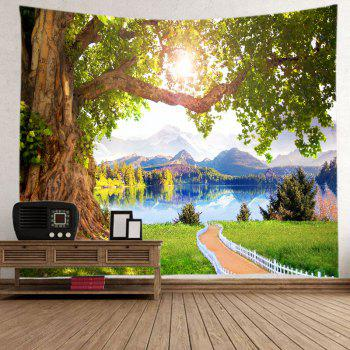 Mountains Lake Path Print Tapestry Wall Hanging Art - GREEN W91 INCH * L71 INCH