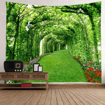 Tree Floral Path Print Tapestry Wall Hanging Art - GREEN W79 INCH * L59 INCH