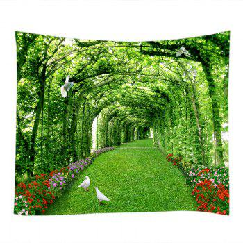 Tree Floral Path Print Tapestry Wall Hanging Art - GREEN W79 INCH * L71 INCH