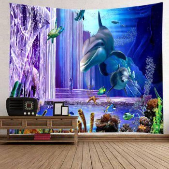 Ocean Dolphin Fishes Print Tapestry Wall Hanging Art - DEEP BLUE W59 INCH * L51 INCH