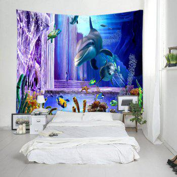 Ocean Dolphin Fishes Print Tapestry Wall Hanging Art - DEEP BLUE W59 INCH * L59 INCH