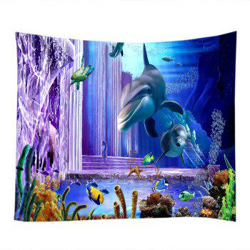 Ocean Dolphin Fishes Print Tapestry Wall Hanging Art - DEEP BLUE W91 INCH * L71 INCH