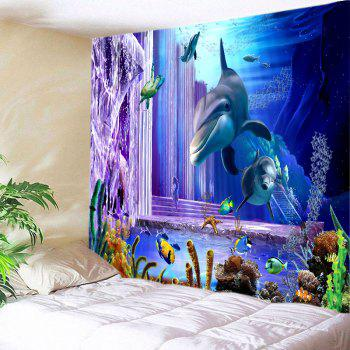 Ocean Dolphin Fishes Print Tapestry Wall Hanging Art