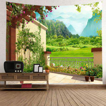 Floral Pergola Mountains Print Tapestry Wall Hanging Art - GREEN W79 INCH * L71 INCH