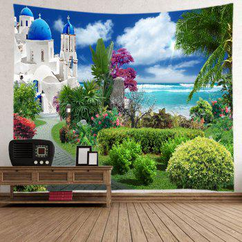 Sea Castle Garden Print Tapestry Wall Hanging Art - GREEN W59 INCH * L59 INCH