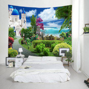 Sea Castle Garden Print Tapestry Wall Hanging Art - GREEN W91 INCH * L71 INCH