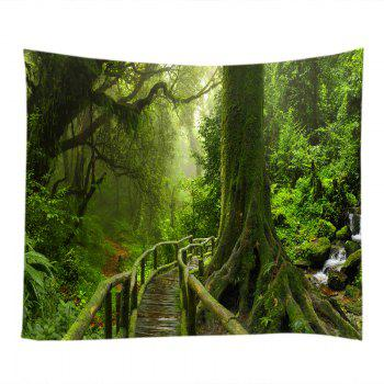 Forest Bridge Falls Print Tapestry Wall Hanging Art - GREEN W59 INCH * L59 INCH