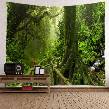 Forest Bridge Falls Print Tapestry Wall Hanging Art - GREEN W79 INCH * L71 INCH