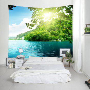 Mountain Sunlight Lake Print Tapestry Wall Hanging Art - GREEN W79 INCH * L59 INCH