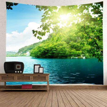 Mountain Sunlight Lake Print Tapestry Wall Hanging Art - GREEN W79 INCH * L71 INCH