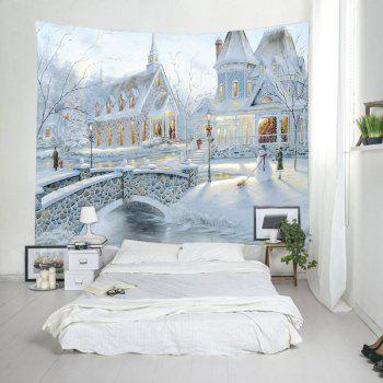 Snow House Print Tapestry Wall Hanging Art - WHITE W59 INCH * L51 INCH
