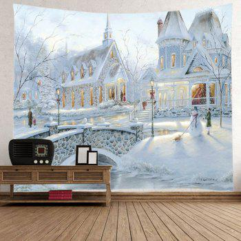 Snow House Print Tapestry Wall Hanging Art - WHITE W79 INCH * L71 INCH