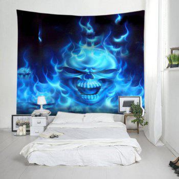 Flame Skull Print Tapestry Wall Hanging Art - BLUE BLUE