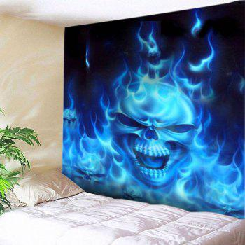 Flame Skull Print Tapestry Wall Hanging Art - BLUE W79 INCH * L71 INCH