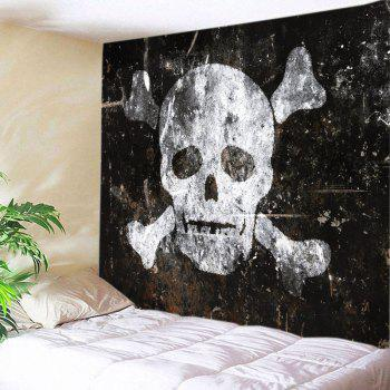 Skull Old Wall Print Tapestry Wall Hanging Art - BLACK WHITE W79 INCH * L71 INCH