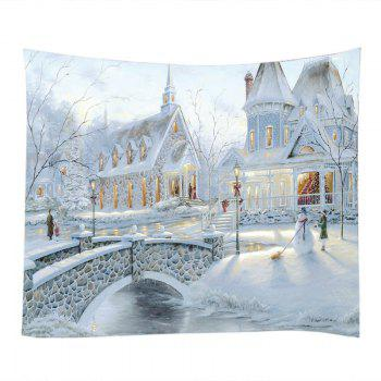 Snow House Print Tapestry Wall Hanging Art - WHITE W79 INCH * L59 INCH