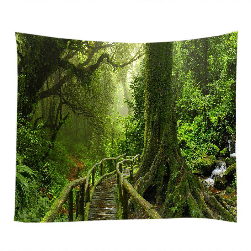 Forest Bridge Falls Print Tapestry Wall Hanging Art - GREEN W59 INCH * L51 INCH