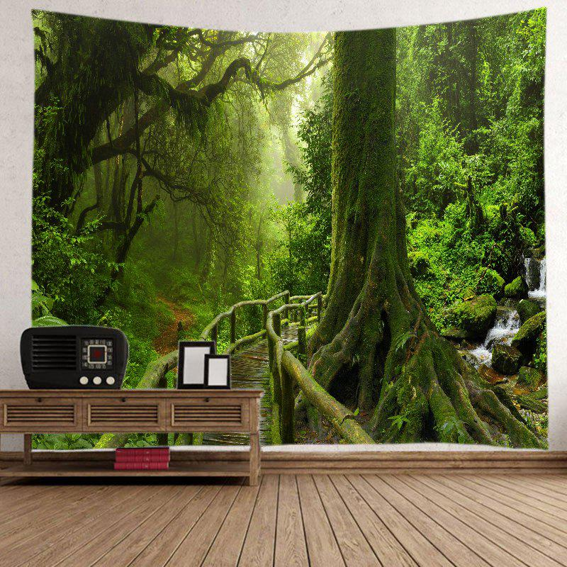 Forest Bridge Falls Print Tapestry Wall Hanging Art - GREEN W91 INCH * L71 INCH