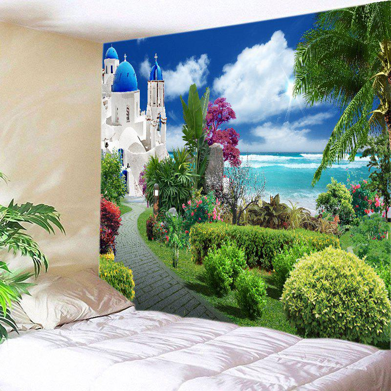 Sea Castle Garden Print Tapestry Wall Hanging Art - GREEN W79 INCH * L71 INCH