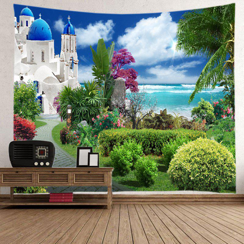 Sea Castle Garden Print Tapestry Wall Hanging Art - GREEN W59 INCH * L51 INCH