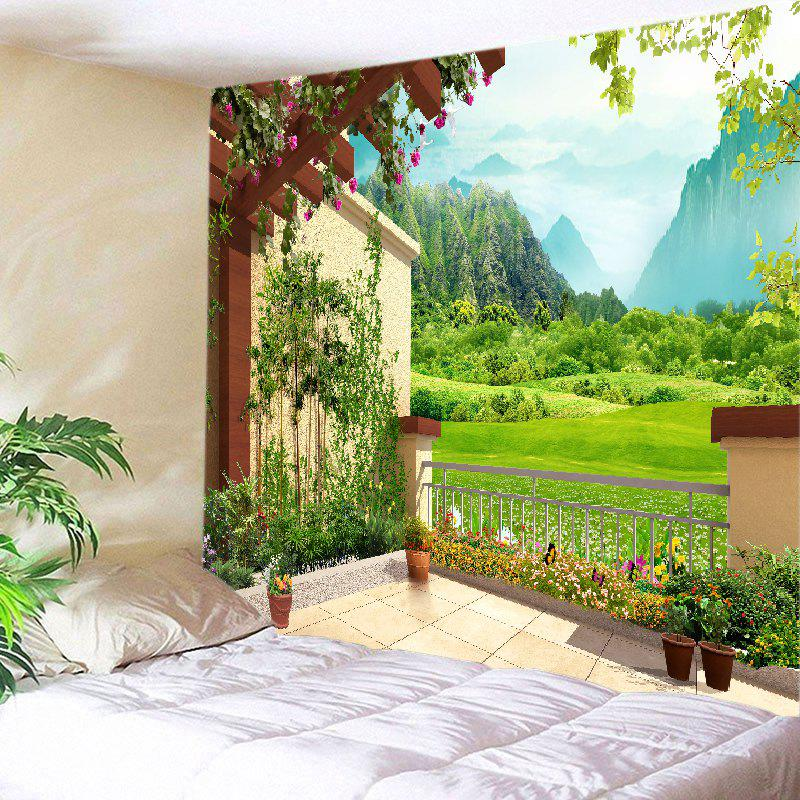 Floral Pergola Mountains Print Tapestry Wall Hanging Art - GREEN W59 INCH * L51 INCH